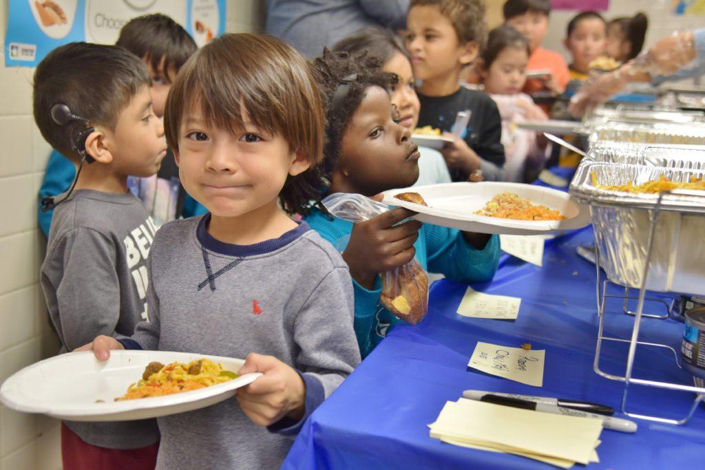 Children at lunch.