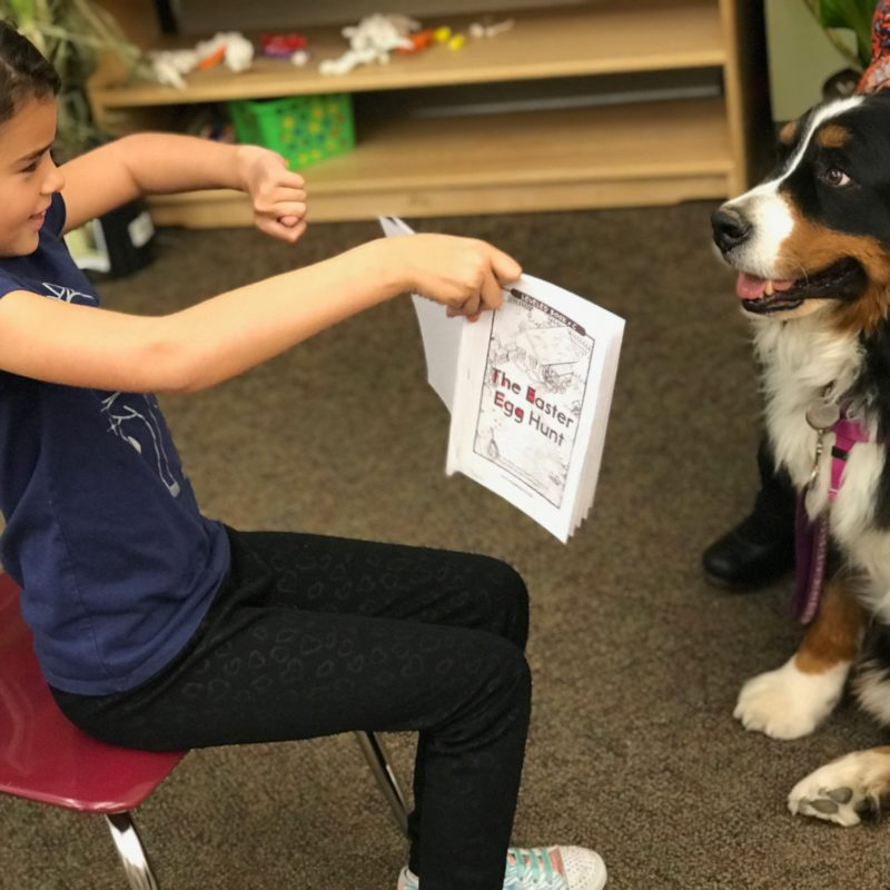 Young girl with dark braid reading and showing book to attentive dog.